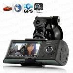 Új Menetrögzítő dupla lencsés autós kamera DVR GPS modullal